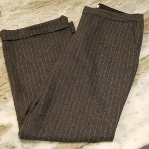 Grey and white striped dress pants lined